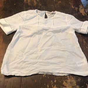 White eyelet Michael Kors 3/4 blouse